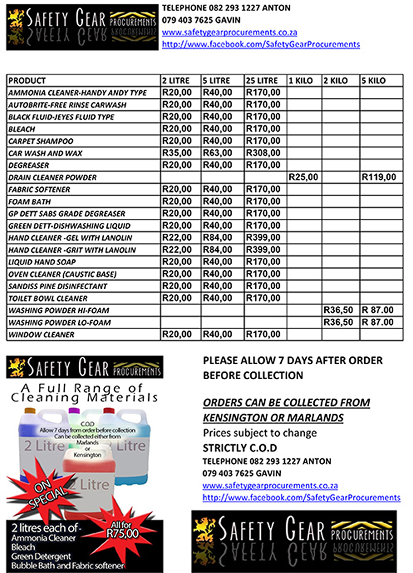 Cleaning products price list. Home